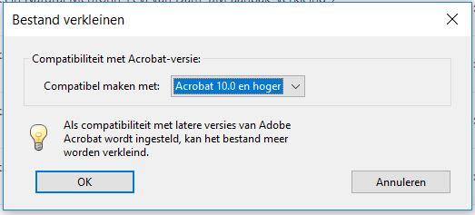 PDF minder compatible maken door hogere versies van Adobe