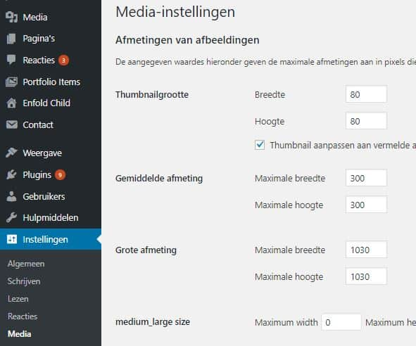 WordPress-standaard-maten-theme-instellingen