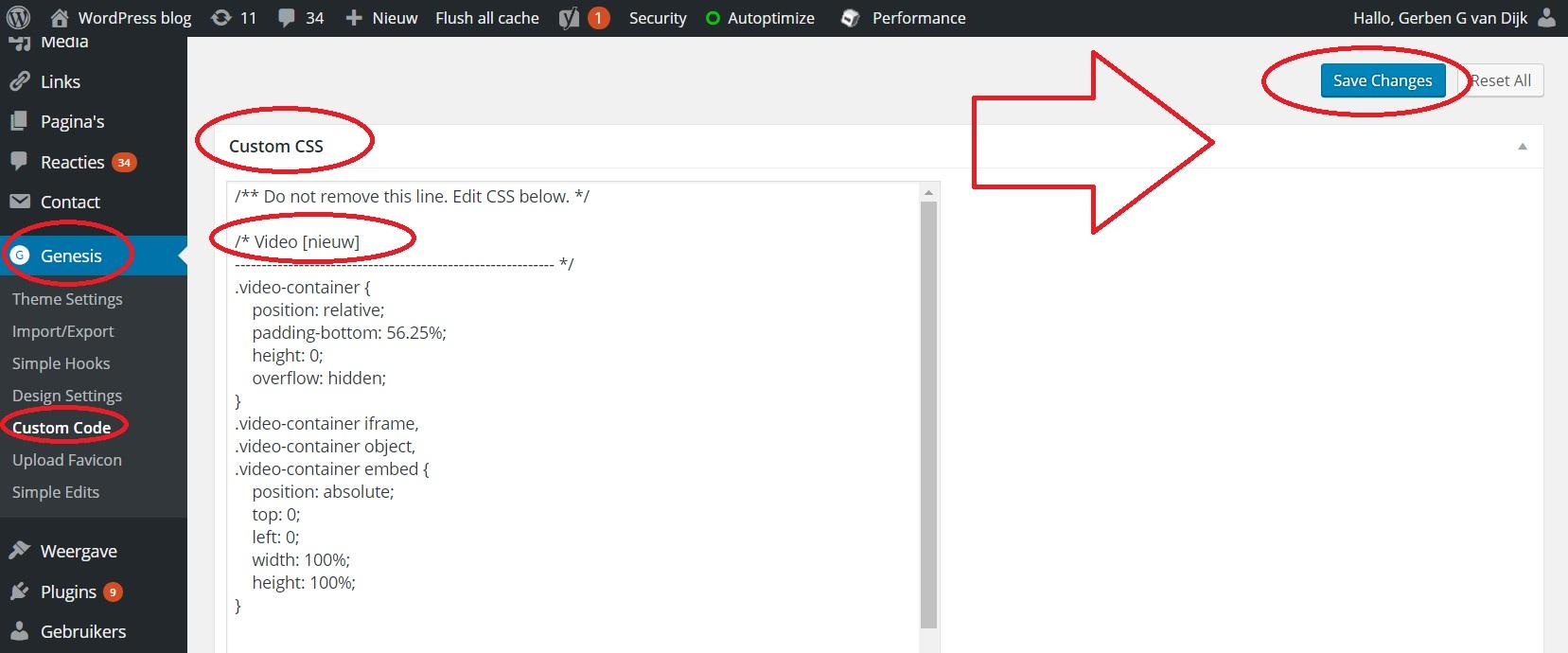 CSS aanpassen Genesis thema voor responsive video embedden