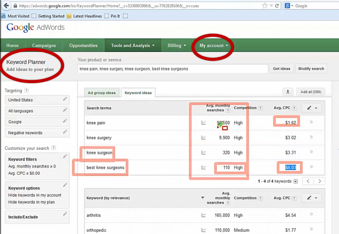 Google Adwords Keyword tool vervangen door Keyword Planner (screenshot)