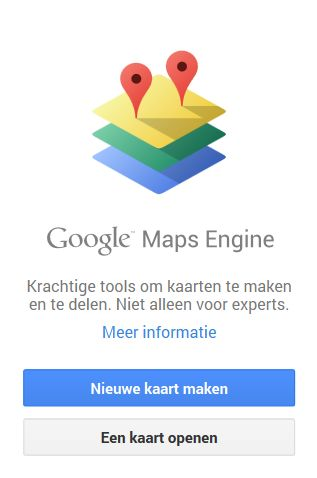 Google Maps Engine kaart maken startscherm