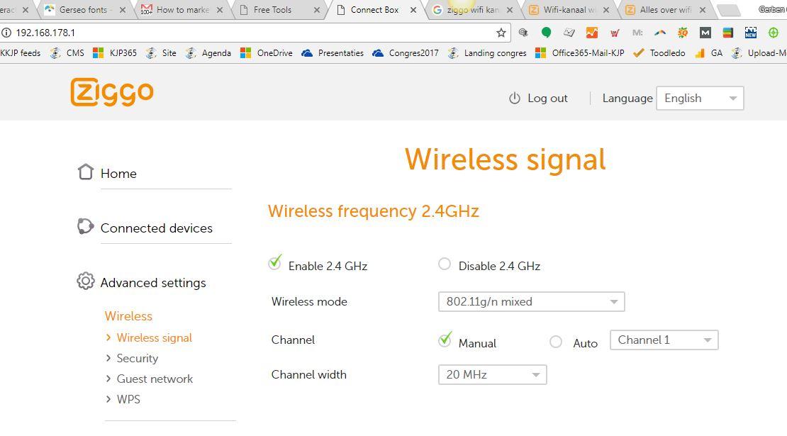In deze afbeelding is het Ziggo wifi kastje op kanaal 1 vastgezet (niet op 6 of 11)