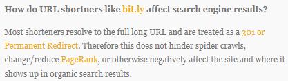 bitly links geven de linkwaarde door, geven geen negatief effect op pagerank