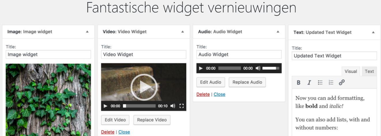 widget vernieuwingen WordPress 4.8 versie tbv PHP 7 overstap