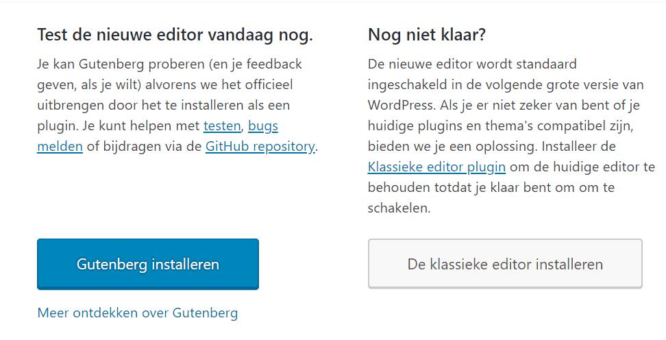 Gutenberg-installeren-of-kLassieke-editor-installeren
