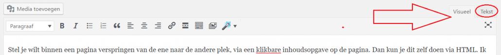 Teksteditor WordPress Klassieke editor ankerlinks plaatsen WordPress inhoudsopgave