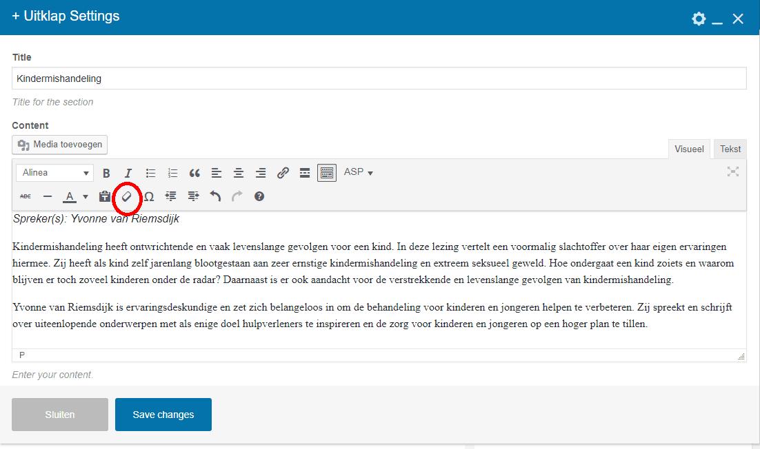 fout, vreemd onjuist lettertype en Word codes verwijderen van wordpress website