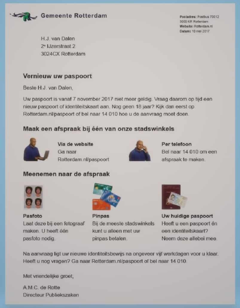 B1-taalniveau brief getest door gemeente RotterdamRotterdam paspoort aanvragen