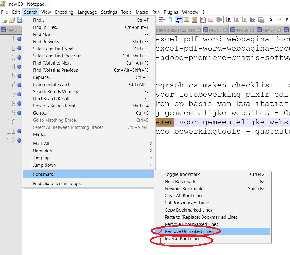Notepad++ verwijderen van rijen via mark en inverse bookmarks