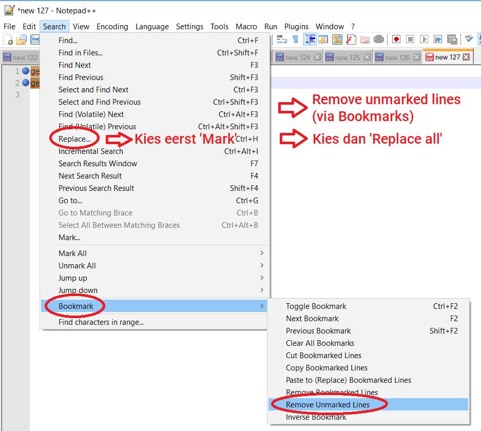 Emailadressen markeren en selecteren Notepad++