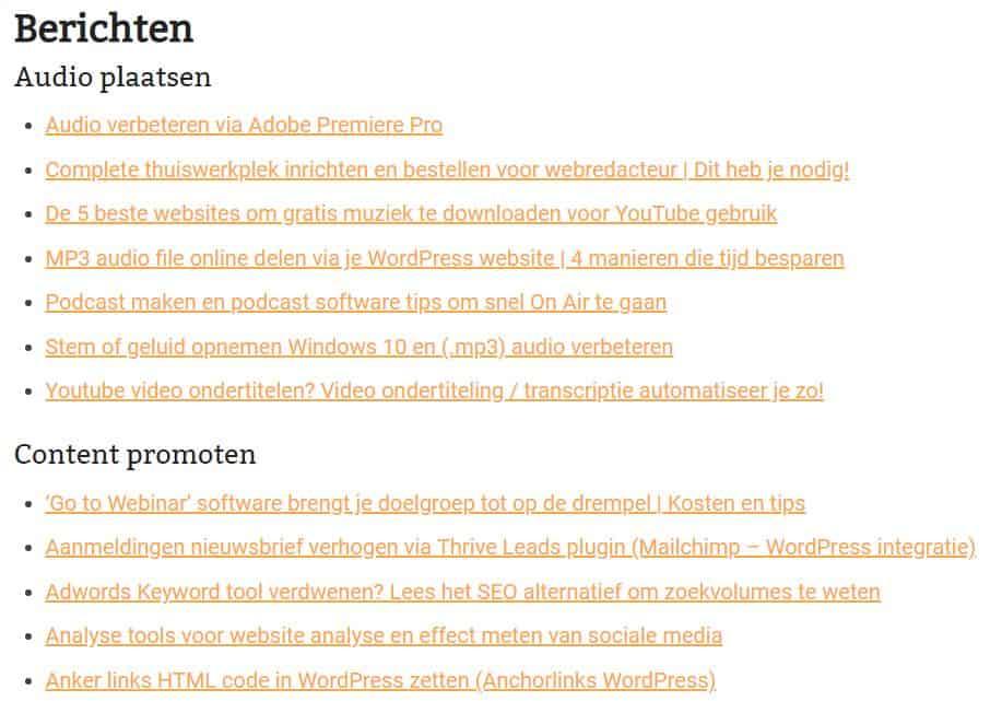Berichten-overzicht-HTML-sitemap-plugin-WordPress