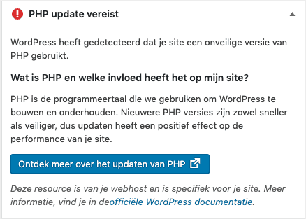WordPress-PHP-update-vereist-melding-onveilige-php-versie