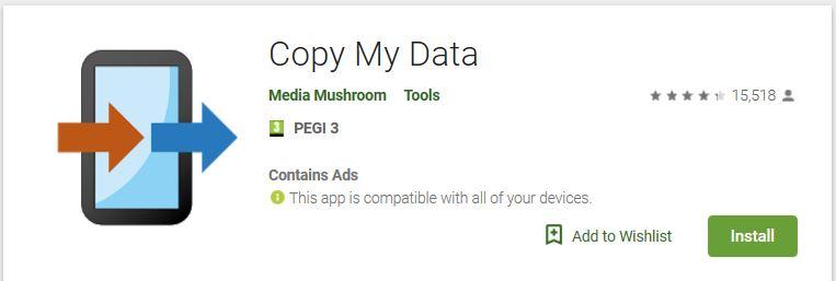 Copy my data Android overzetten naar Android - persoonlijke data app