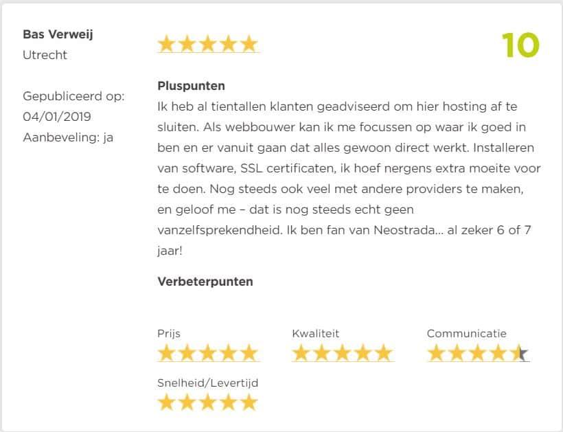 review beste hostingpartij Snelle WordPress Webhosting NL domein door Bas Verweij