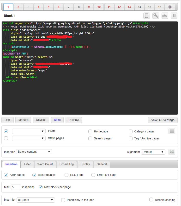 Ad Inserter instellen AMP en Desktope adsense ads