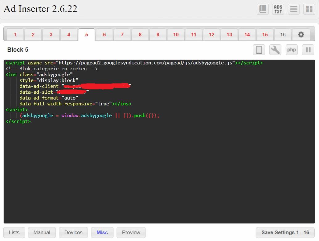 Google Adsense before post default css 250
