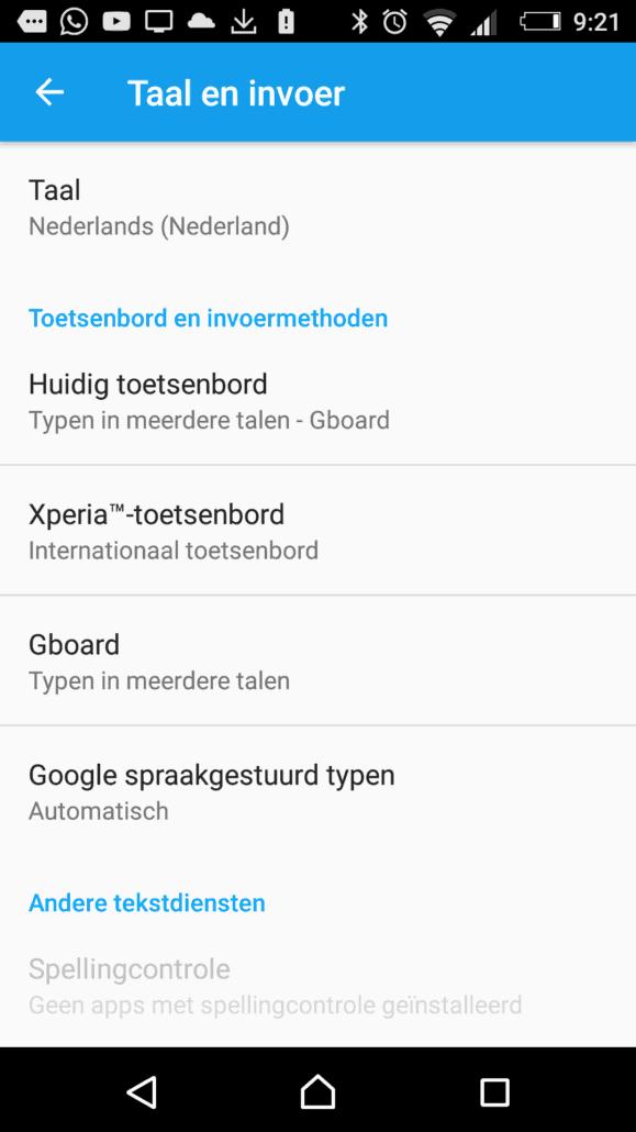 Spraakgestuurd typen in stellen bij taal en invoer Android