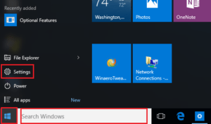 Windows 10 update 1903 start knop, zoeken en instellingen radartje