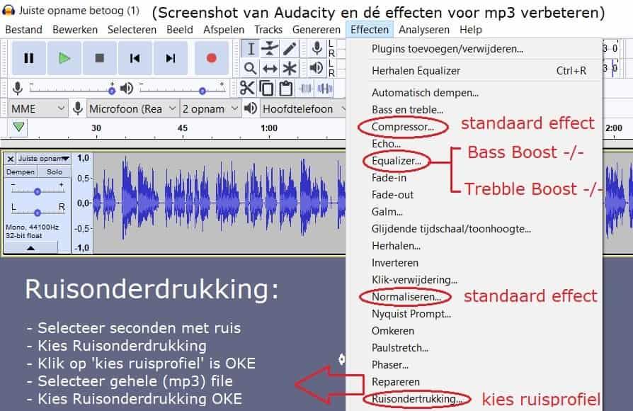 mp3 geluid verbeteren via Audicty standaard geluidseffecten