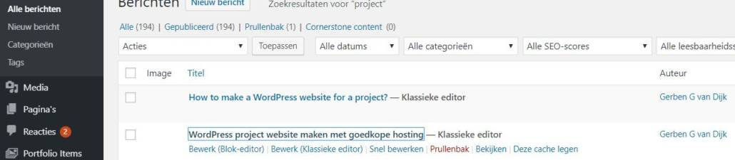 post ID WordPress pagina website nummer