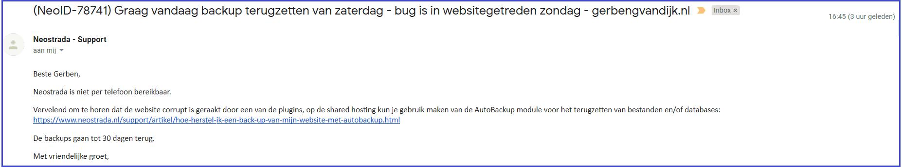 Backup terugzetten hosting Neostrada