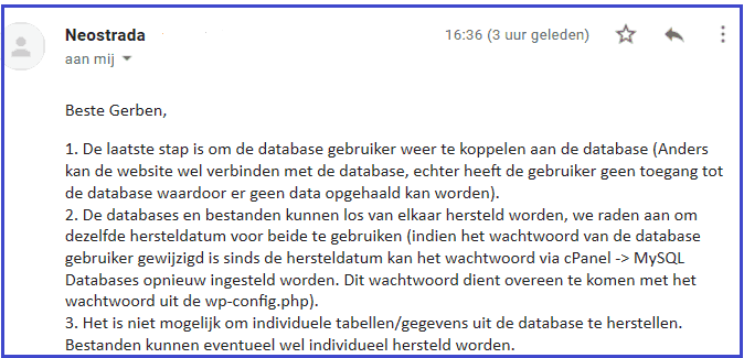 database en files backup herstellen restore