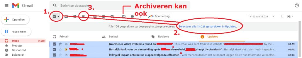 Hoe verwijder je alle mails in een keer Gmail