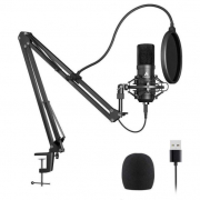 Podcast microfoon met beweegbare arm en pop filter set
