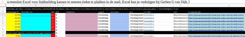 Excel linkbuilding linkverzoek tekst voorbeeld