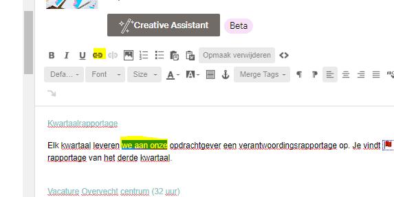 link toevoegen mailchimp