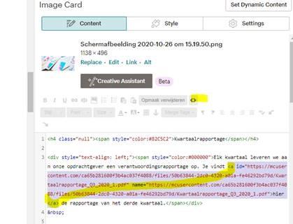 niet werkende links mailchimp verwijderen