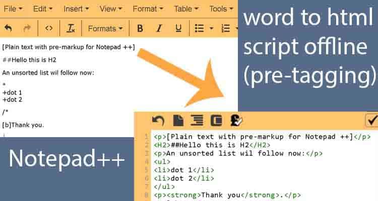 WordPress migration script notepadtext html conversion