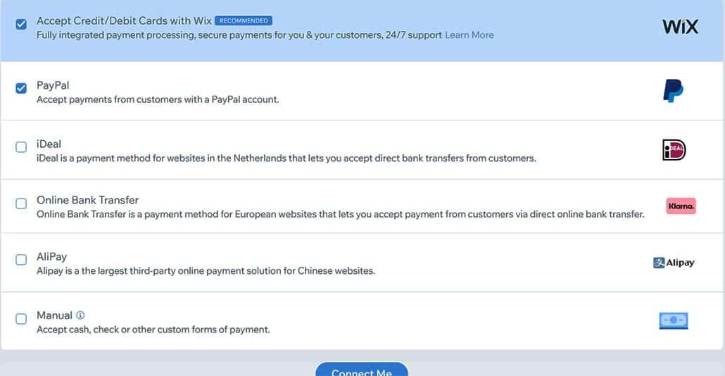 betaalmethoden in Wix 1