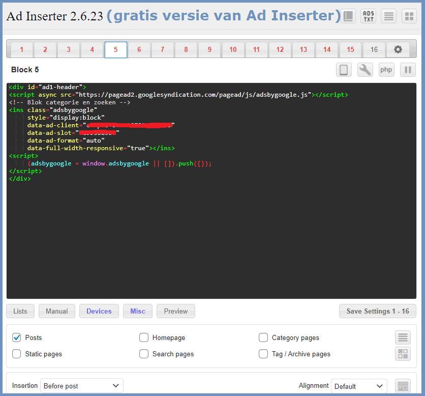 Google Adsense CLS problem bugfixing WordPress Ad Inserter plugin