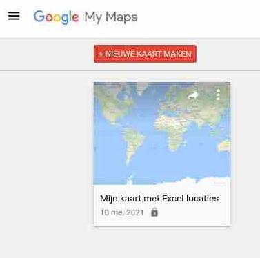 Google maps nieuwe kaart via excel adressen locaties