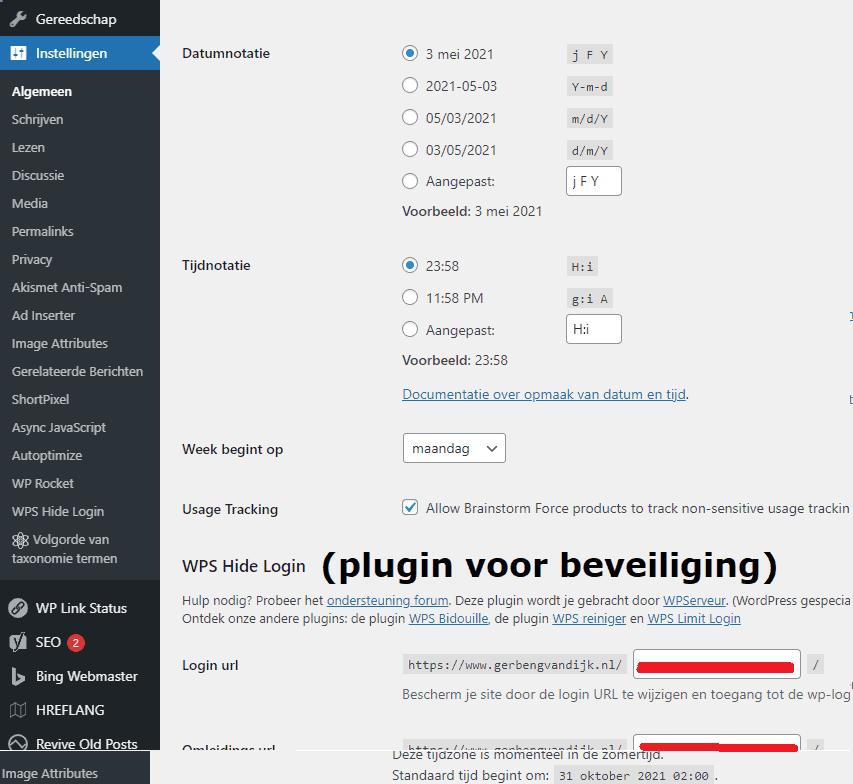 Instellingen WordPress Algemeen datum en tijd instellen wp