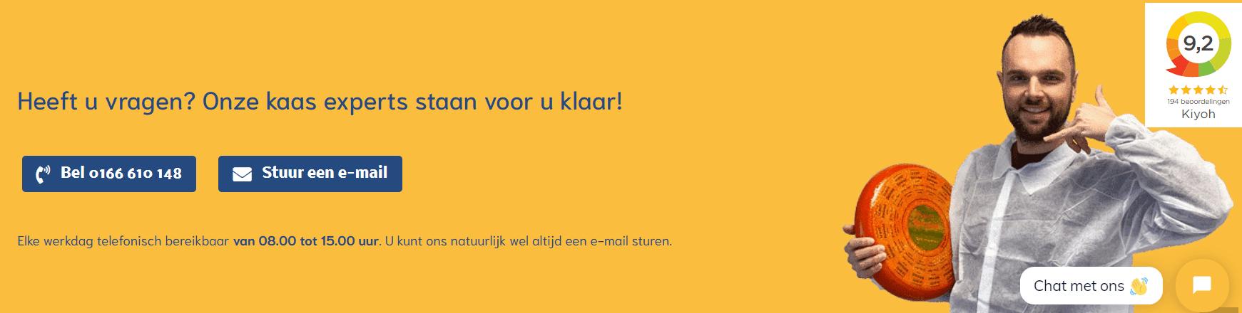 Serviceaanbod van hollandskaashuis nl onder elke website kindpagina Voorbeeld footer