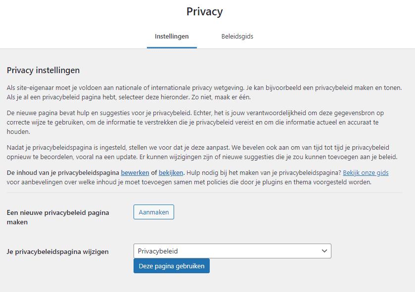 WordPress instellingen privacy