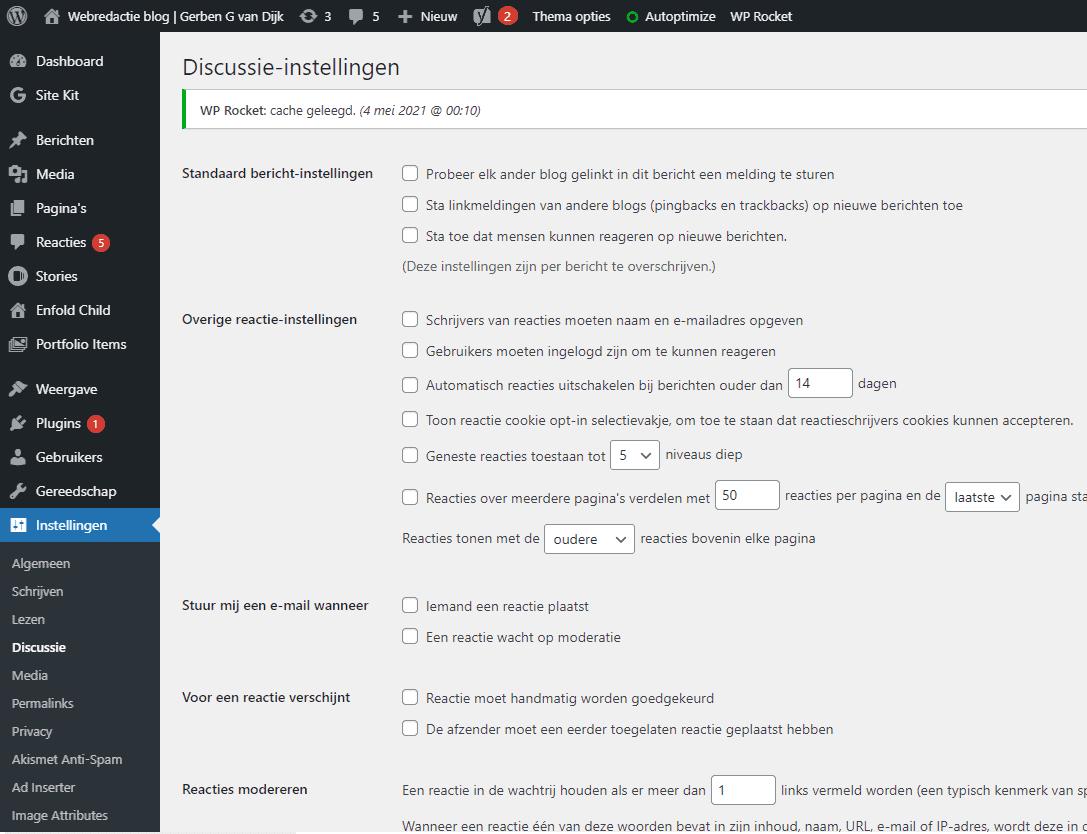 WordPress instellingen reacties discussies settings