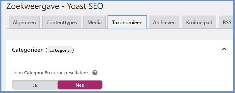 categorieen wel of niet indexeren wordpress seo