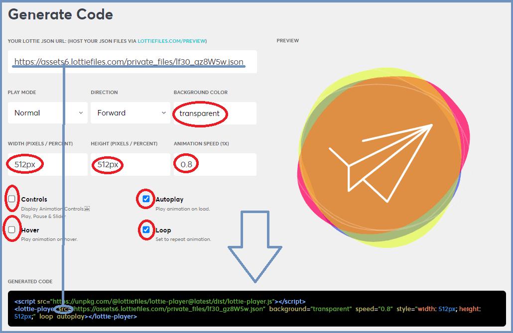 Download embedcode via Generate Code Lottie Files