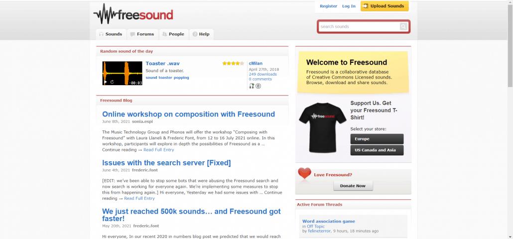 freesound free adio library